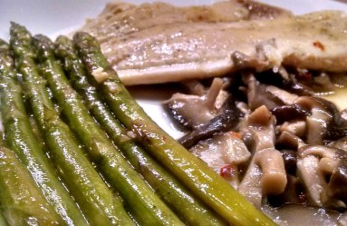 braised asparagus and tilapia with lemon butter sauce